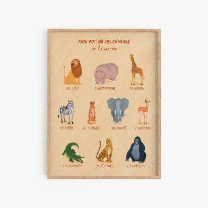 Poster des animaux de la savane